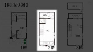 2980万円 2DK+ロフト 狭小住宅 間取り図